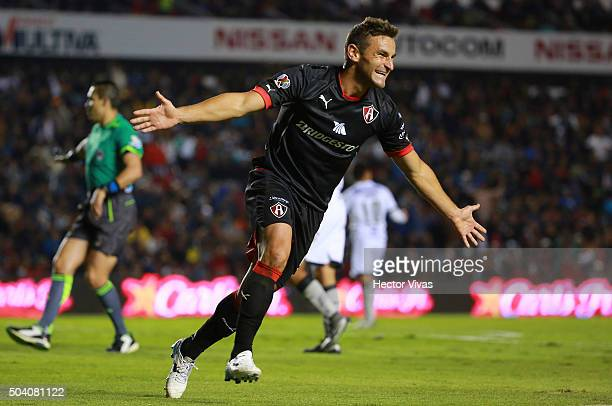Gonzalo Bergessio of Atlas celebrates after scoring the third goal of his team during the 1st round match between Queretaro and Atlas as part of the...