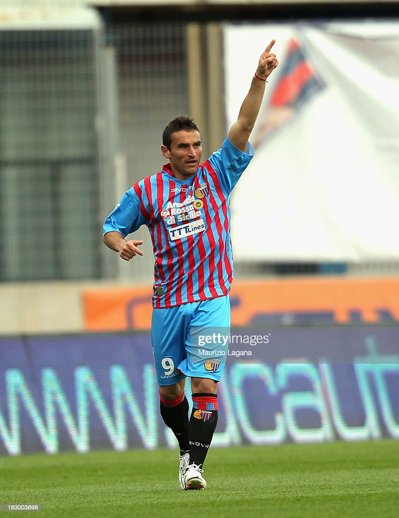 Gonzalo Bergessio of Calcio Catania celebrates after scoring the opening goal during the Serie A match between Calcio Catania and FC Internazionale Milano at Stadio Angelo Massimino on March 3, 2013 in Catania, Italy.
