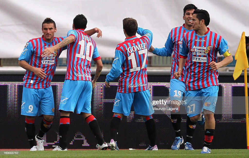 Gonzalo Bergessio (L) of Calcio Catania celebrates after scoring the opening goal during the Serie A match between Calcio Catania and FC Internazionale Milano at Stadio Angelo Massimino on March 3, 2013 in Catania, Italy.
