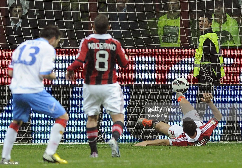 Gonzalo Bergessio of Calcio Catania (not pictured) scores the second goal during the Serie A match between AC Milan and Calcio Catania at San Siro Stadium on April 28, 2013 in Milan, Italy.