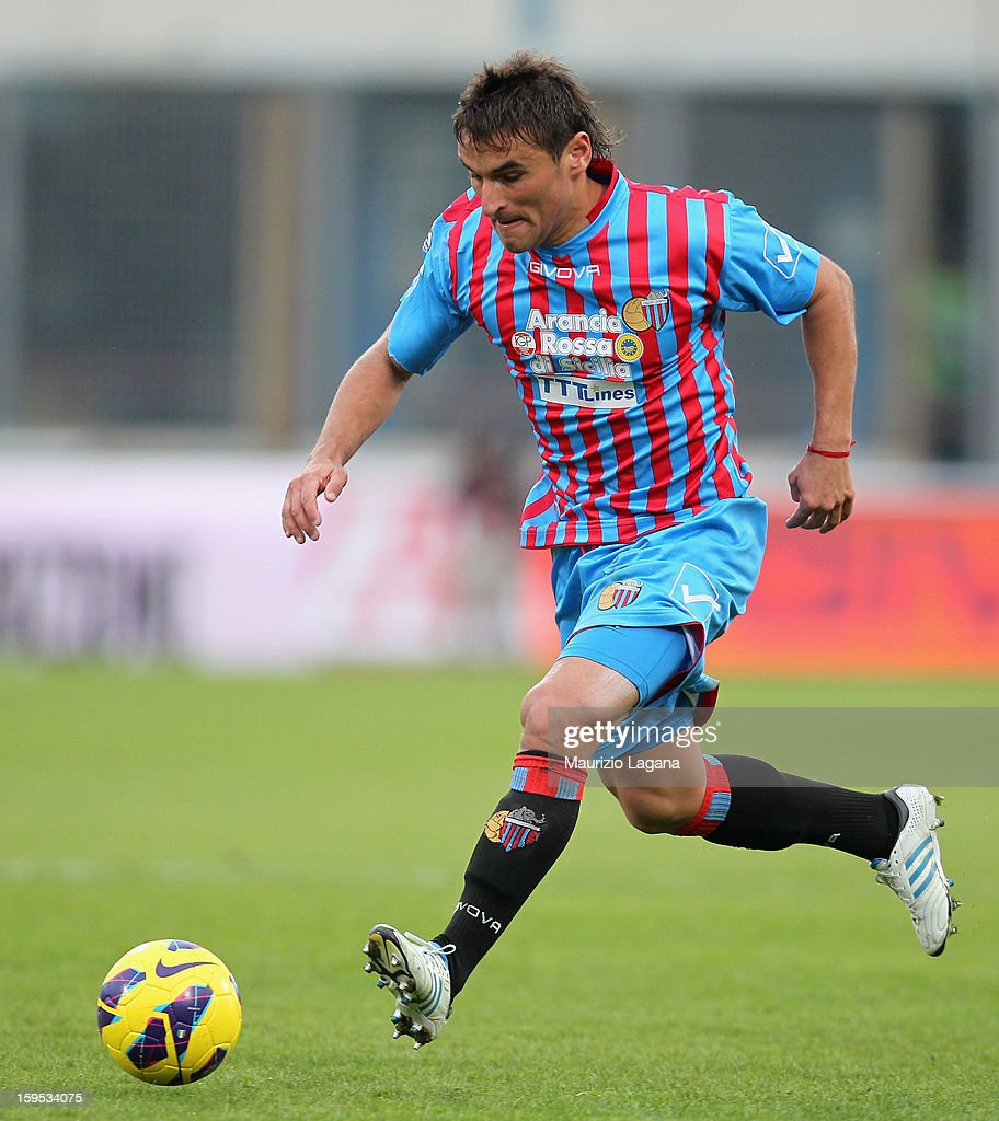 Gonzalo Bergessio of Catania during the Serie A match between Calcio Catania and AS Roma at Stadio Angelo Massimino on January 13, 2013 in Catania, Italy.