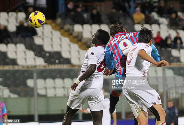 Gonzalo Bergessio of Catania scores his team's third goal during the TIM Cup match between Catania Calcio and AS Cittadella at Stadio Angelo...