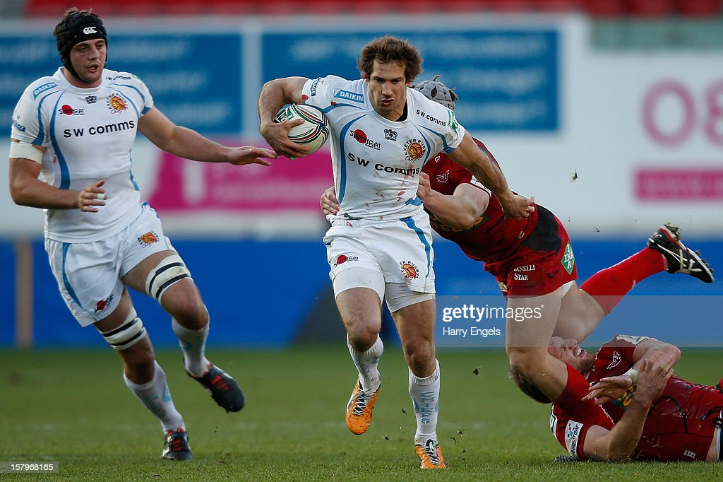 <a gi-track='captionPersonalityLinkClicked' href=/galleries/search?phrase=Gonzalo+Camacho&family=editorial&specificpeople=4218062 ng-click='$event.stopPropagation()'>Gonzalo Camacho</a> of Exeter charges through the Scarlets defence during the Heineken Cup match between Scarlets and Exeter Chiefs at Parc y Scarlets on December 8, 2012 in Llanelli, Wales.