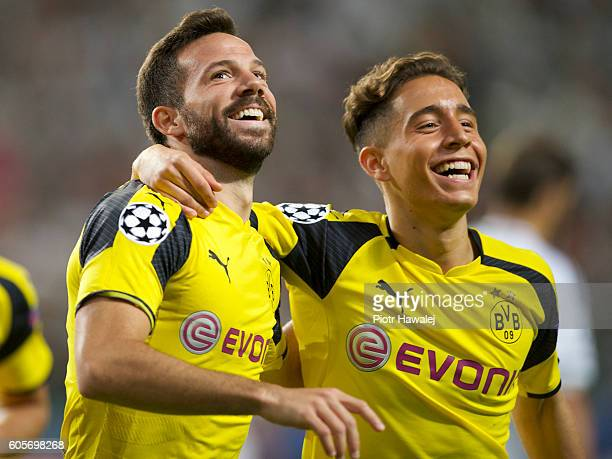 Gonzalo Castro and Emre Mor of Borussia celebrate scoring a goal during the UEFA Champions League match between Legia Warszawa and Borussia Dortmund...