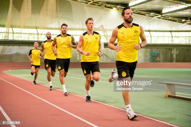 Gonzalo Castro Eric Durm goalkeeper Roman Buerki and Oemer Toprak of Dortmund looks on during the Lactate Test on July 7 2017 in Dortmund Germany