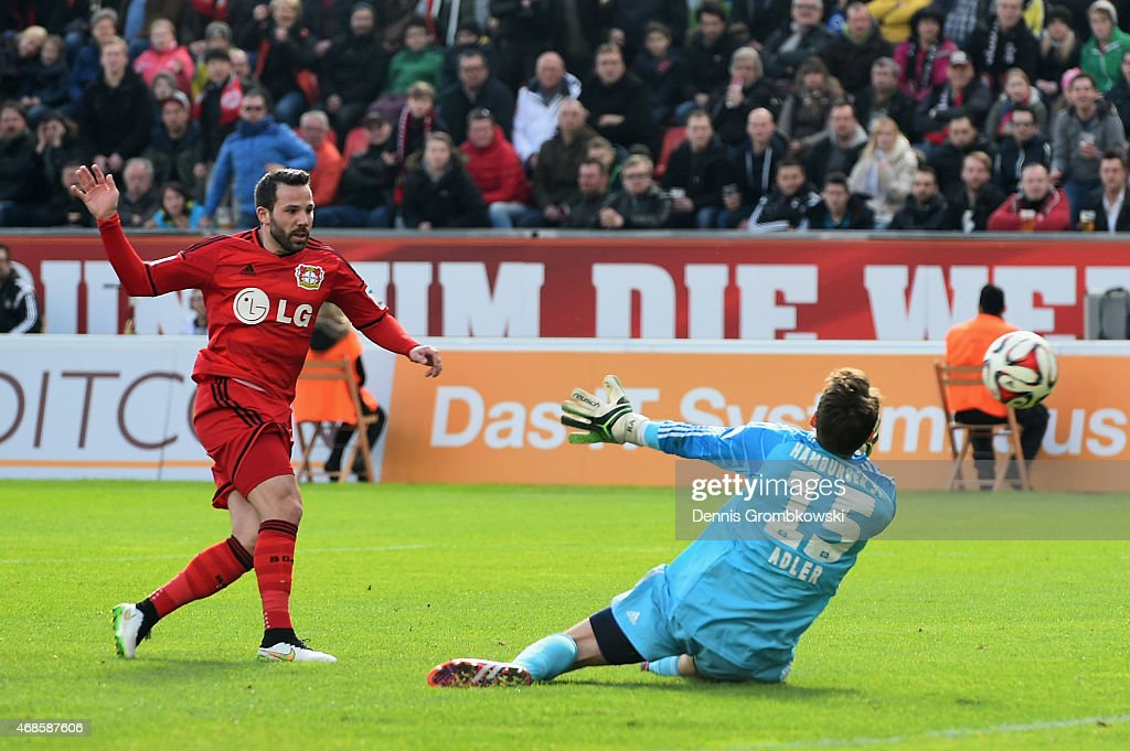 <a gi-track='captionPersonalityLinkClicked' href=/galleries/search?phrase=Gonzalo+Castro&family=editorial&specificpeople=605388 ng-click='$event.stopPropagation()'>Gonzalo Castro</a> of Bayer Leverkusen scores the fourth goal during the Bundesliga match between Bayer 04 Leverkusen and Hamburger SV at BayArena on April 4, 2015 in Leverkusen, Germany.