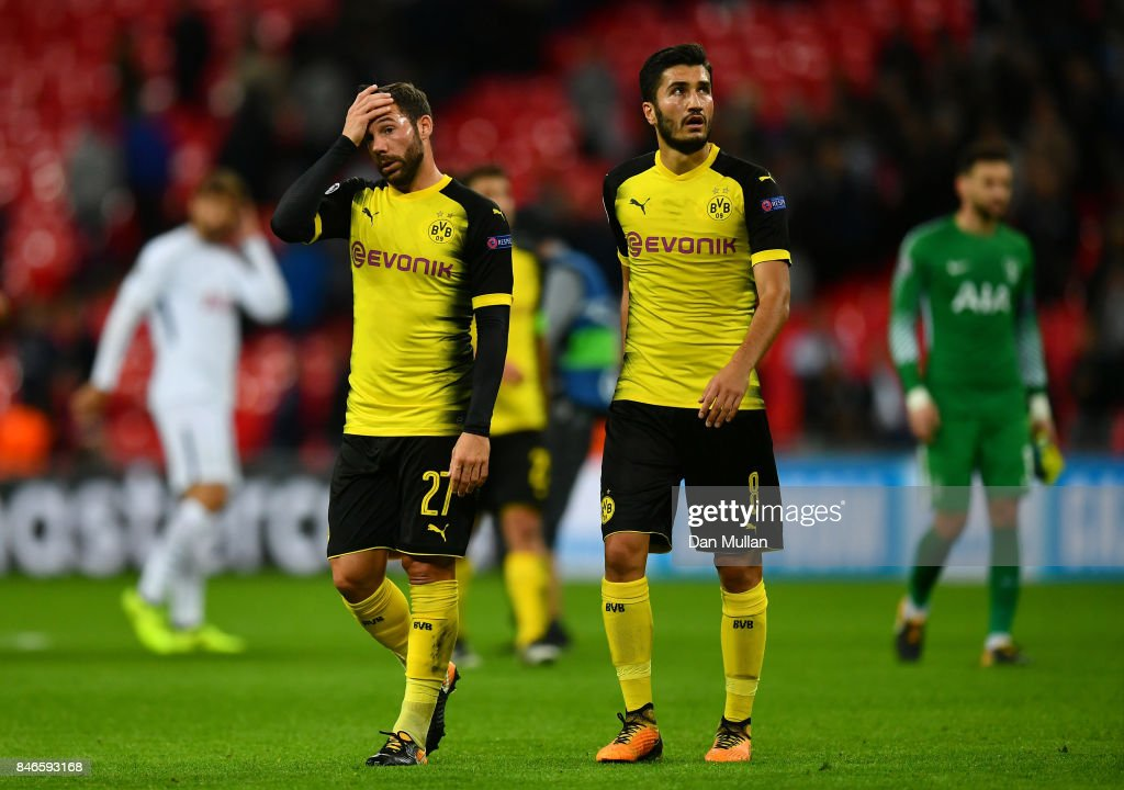 Gonzalo Castro of Borussia Dortmund and Nuri Sahin of Borussia Dortmund look dejected after the UEFA Champions League group H match between Tottenham Hotspur and Borussia Dortmund at Wembley Stadium on September 13, 2017 in London, United Kingdom.