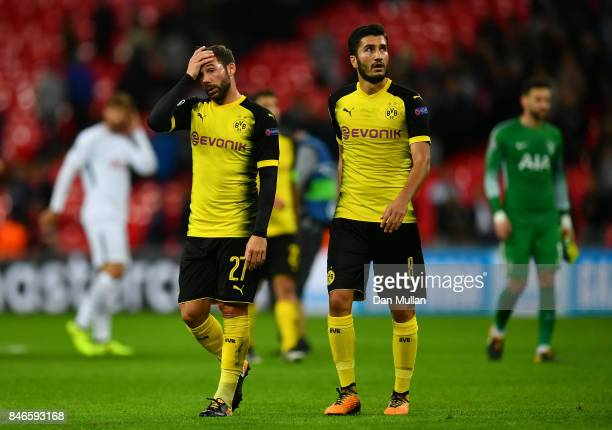 Gonzalo Castro of Borussia Dortmund and Nuri Sahin of Borussia Dortmund look dejected after the UEFA Champions League group H match between Tottenham...