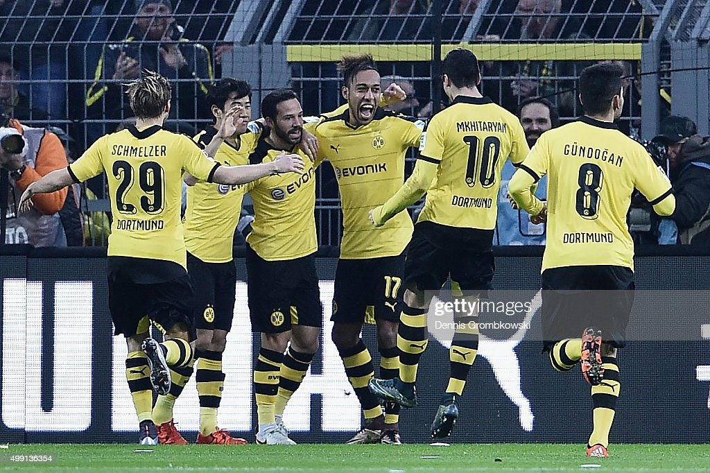Gonzalo Castro of Borussia Dortmund celebrates with team mates as he scores the opening goal during the Bundesliga match between Borussia Dortmund...