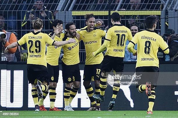 Gonzalo Castro of Borussia Dortmund celebrates with team mates as he scores the opening goal during the Bundesliga match between Borussia Dortmund...