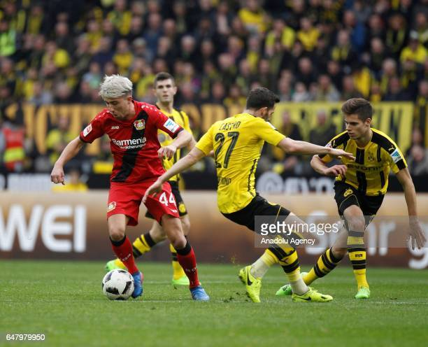 Gonzalo Castro of Borussia Dortmund in action with Kevin Kampl of Bayer 04 Leverkusen during the Bundesliga soccer match between Borussia Dortmund...