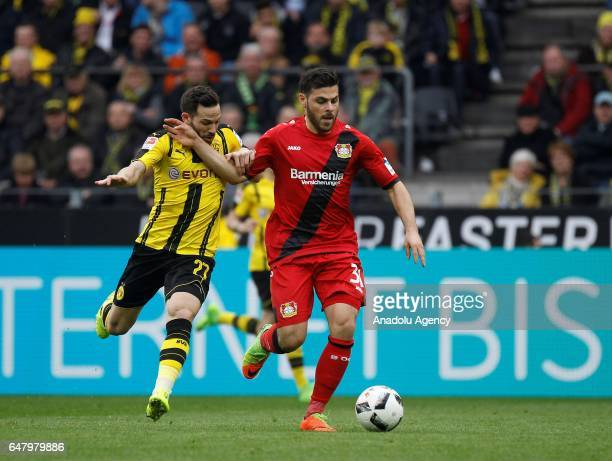 Gonzalo Castro of Borussia Dortmund in action with Kevin Volland of Bayer 04 Leverkusen during the Bundesliga soccer match between Borussia Dortmund...