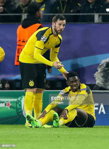 Gonzalo Castro of Borussia Dortmund Ousmane Dembele of Borussia Dortmund looks on during the UEFA Champions League Round of 16 Second Leg match...