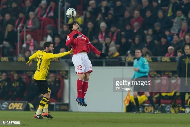 Gonzalo Castro of Dortmund and Andre Ramalho of Mainz battle for the ball during the Bundesliga match between 1 FSV Mainz 05 and Borussia Dortmund at...
