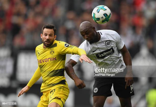 Gonzalo Castro of Dortmund and Jetro Willems of Frankfurt fight for the ball during the Bundesliga match between Eintracht Frankfurt and Borussia...