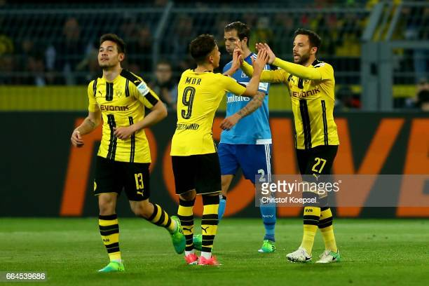 Gonzalo Castro of Dortmund celebrates the first goal with Emre Mor of Dortmund during the Bundesliga match between Borussia Dortmund and Hamburger SV...