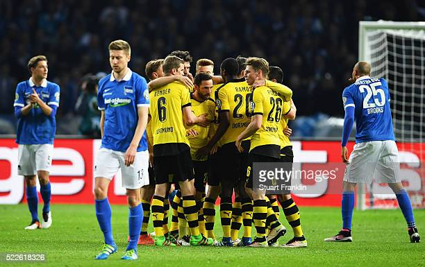Gonzalo Castro of Dortmund celebrates with team mates after scoring his teams first goal during the DFB Cup semi final match between Hertha BSC...