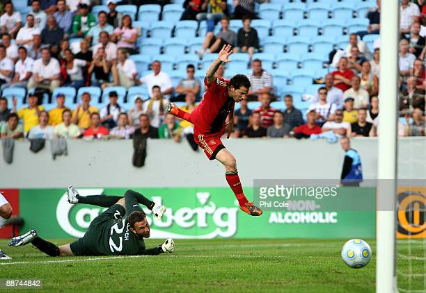 Gonzalo Castro of Germany score past Scott Loach of England during the UEFA U21 European Championships Final match between England and Germany at the...