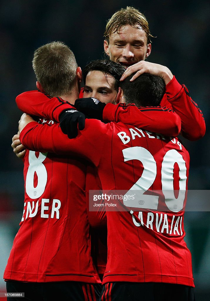 <a gi-track='captionPersonalityLinkClicked' href=/galleries/search?phrase=Gonzalo+Castro&family=editorial&specificpeople=605388 ng-click='$event.stopPropagation()'>Gonzalo Castro</a> (C) of Leverkusen celebrates after scoring his team's first goal during the Bundesliga match between Werder Bremen and Bayer 04 Leverkusen at Weser Stadium on November 28, 2012 in Bremen, Germany.