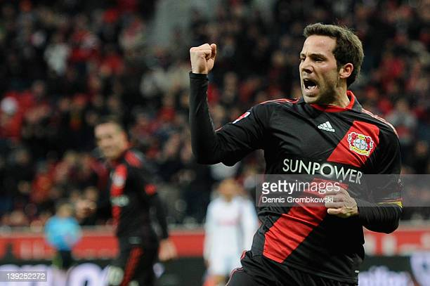 Gonzalo Castro of Leverkusen celebrates after scoring his team's second goal during the Bundesliga match between Bayer 04 Leverkusen and FC Augsburg...