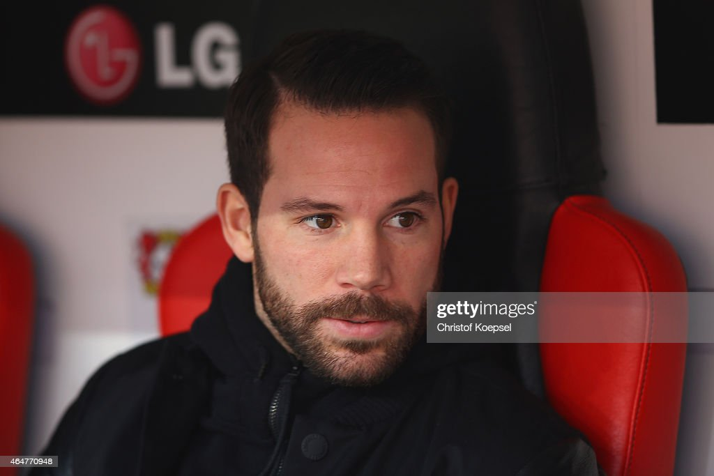 Gonzalo Castro of Leverkusen looks on prior to the Bundesliga match between Bayer 04 Leverkusen and SC Freiburg at BayArena on February 28, 2015 in Leverkusen, Germany.