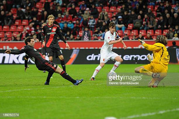 Gonzalo Castro of Leverkusen scores his team's second goal during the Bundesliga match between Bayer 04 Leverkusen and FC Augsburg at BayArena on...