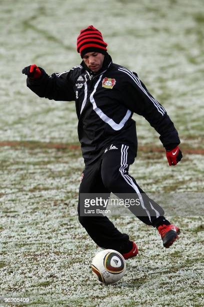 Gonzalo Castro runs with the ball during a Bayer 04 Leverkusen training session on January 27 2010 in Leverkusen Germany