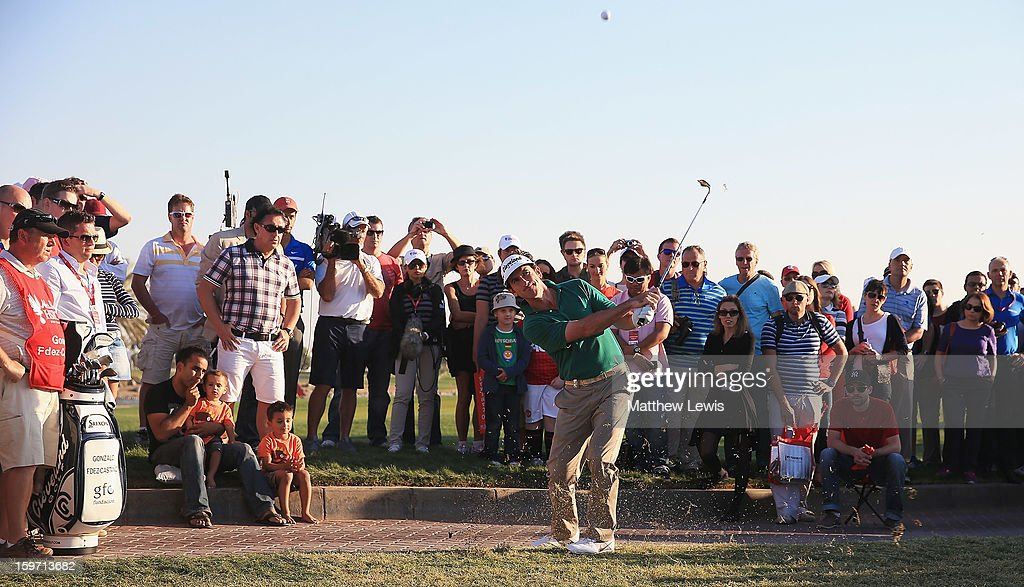 Gonzalo Fdez-Castano of Spain plays out of the rough on the 18th hole during day three of the Abu Dhabi HSBC Golf Championship at Abu Dhabi Golf Club on January 19, 2013 in Abu Dhabi, United Arab Emirates.