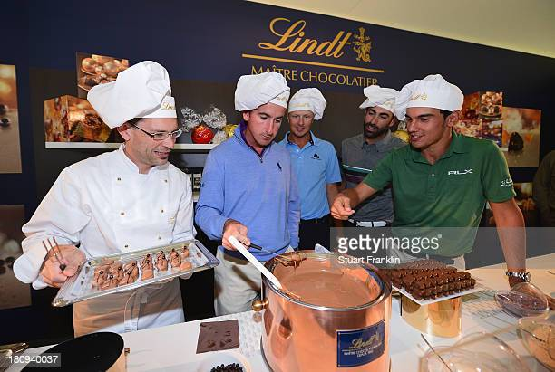 Gonzalo Fernandez Castano of Spain Fredrik AnderssonHed of Sweden Alvaro Quiros of Spain and Matteo Manassero of Italy discover how Lindt chocolates...