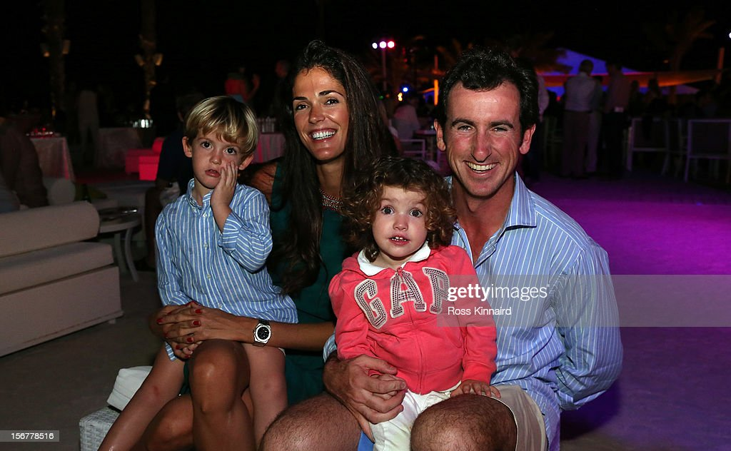 Gonzalo Fernandez Castano of Spain with his wife Alicia and two of their children during the pro-am party prior to the DP World Tour Championship on the Earth Course at Jumeirah Golf Estates on November 20, 2012 in Dubai, United Arab Emirates.