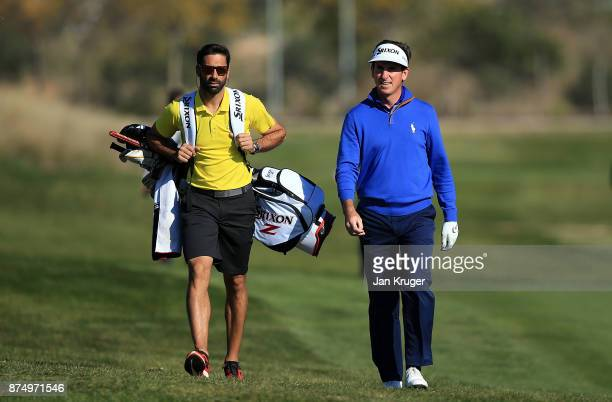 Gonzalo FernandezCastano of Spain and his caddie Alvaro Quiros make their way down the fairway during the final round of the European Tour Qualifying...