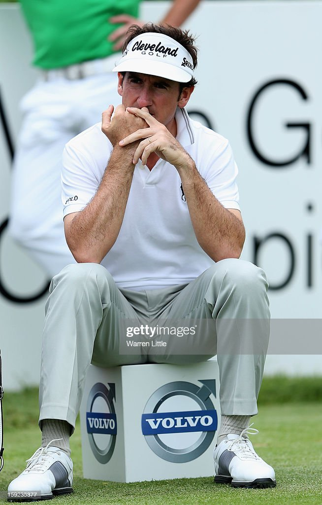 Gonzalo Fernandez-Castano of Spain has a rest on the second tee during the first round of the Volvo Golf Champions at Durban Country Club on January 10, 2013 in Durban, South Africa.