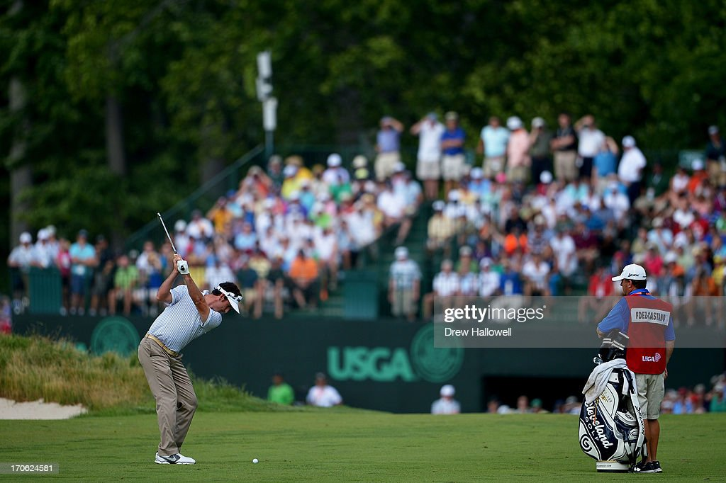 Gonzalo Fernandez-Castano of Spain hits his second shot on the eighth hole during Round Three of the 113th U.S. Open at Merion Golf Club on June 15, 2013 in Ardmore, Pennsylvania.