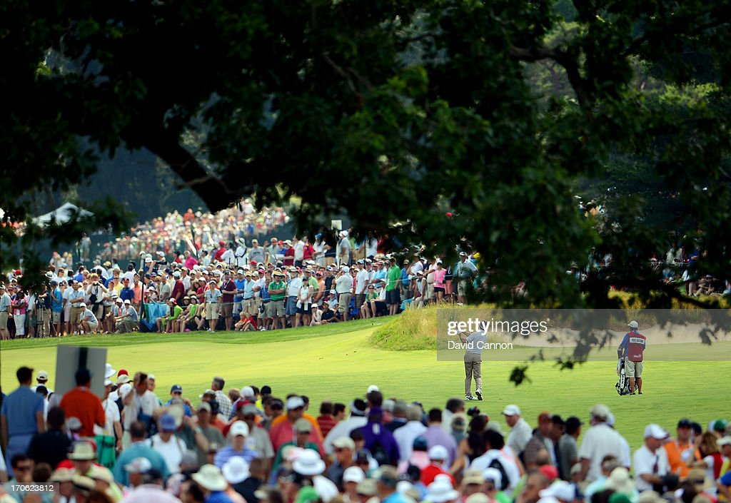 Gonzalo Fernandez-Castano of Spain hits his third shot on the fifth hole during Round Three of the 113th U.S. Open at Merion Golf Club on June 15, 2013 in Ardmore, Pennsylvania.