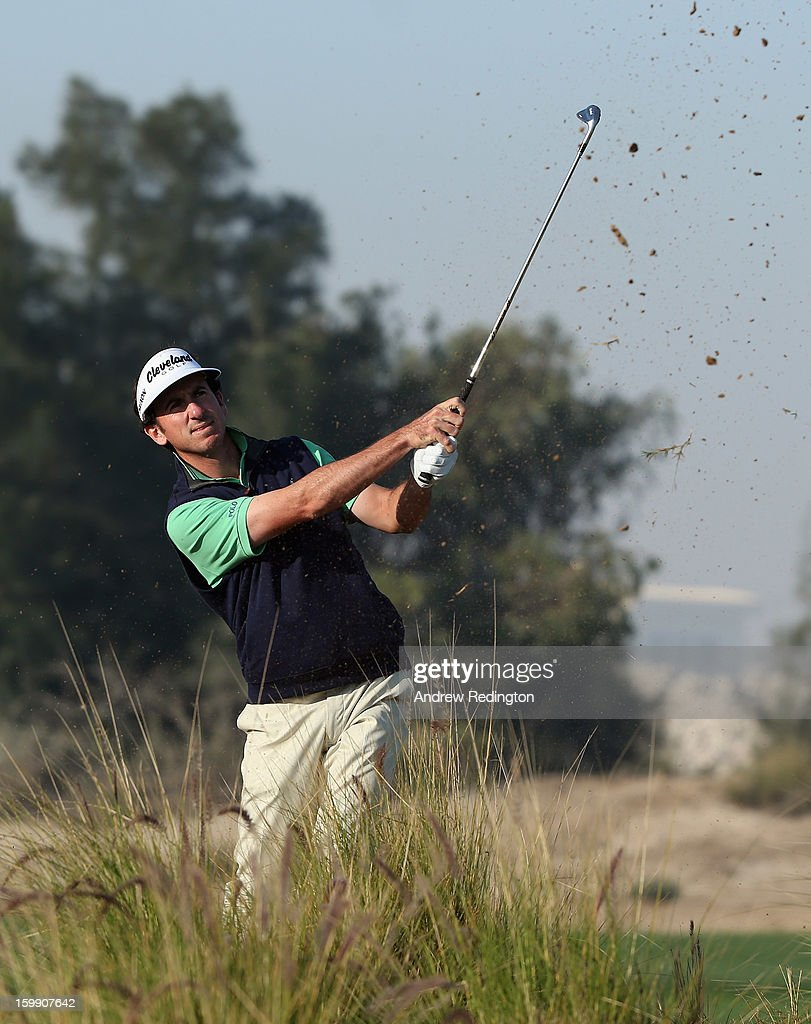 Gonzalo Fernandez-Castano of Spain plays his second shot on the 12th hole during the first round of the Commercial Bank Qatar Masters held at Doha Golf Club on January 23, 2013 in Doha, Qatar.