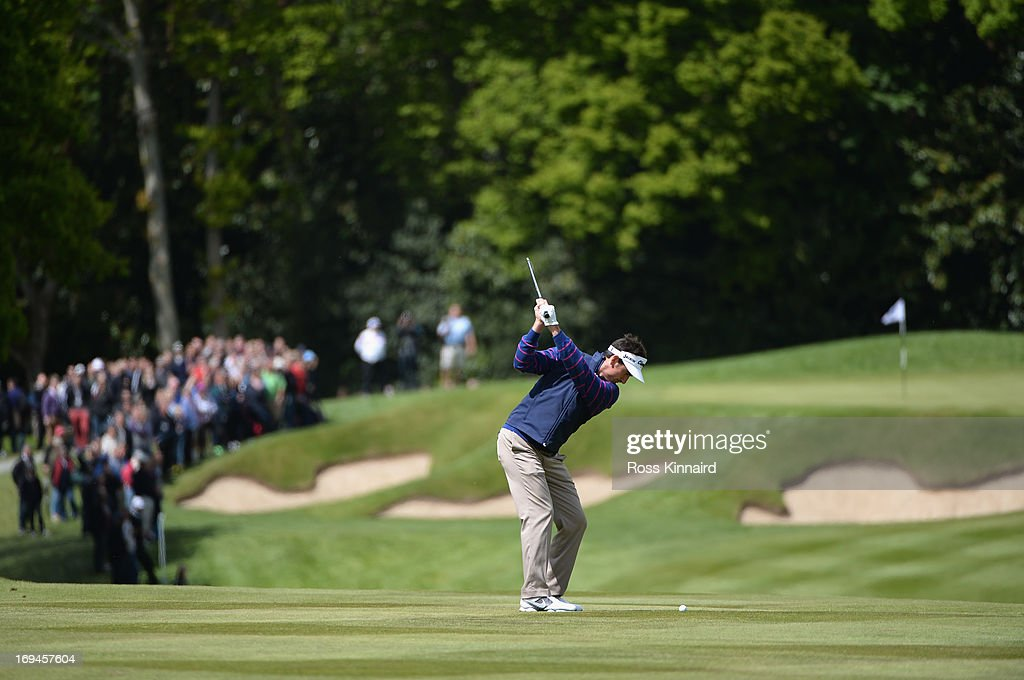 Gonzalo Fernandez-Castano of Spain plays his second shot on the first hole during the third round of the BMW PGA Championship on the West Course at Wentworth on May 25, 2013 in Virginia Water, England.