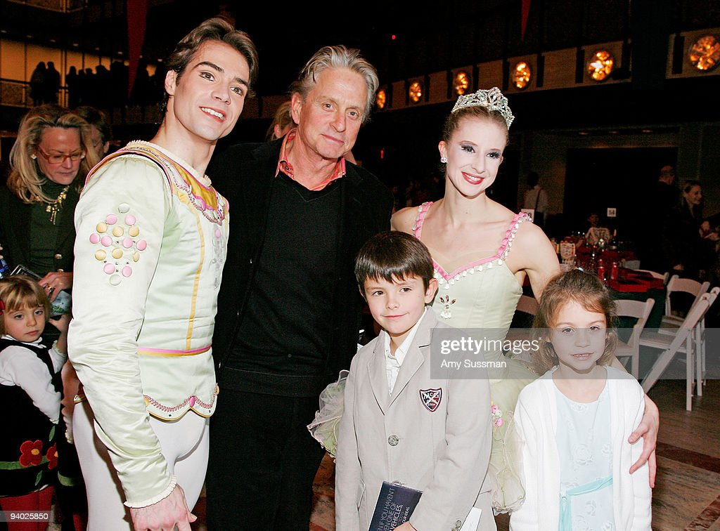 Gonzalo Garcia, actor <a gi-track='captionPersonalityLinkClicked' href=/galleries/search?phrase=Michael+Douglas&family=editorial&specificpeople=171111 ng-click='$event.stopPropagation()'>Michael Douglas</a>, Dylan <a gi-track='captionPersonalityLinkClicked' href=/galleries/search?phrase=Michael+Douglas&family=editorial&specificpeople=171111 ng-click='$event.stopPropagation()'>Michael Douglas</a>, NYCB Sterling Hyltin and Carys Zeta Douglas attend the New York City Ballet & the School of American Ballet's The Nutcracker family benefit at the David H. Koch Theater, Lincoln Center on December 5, 2009 in New York City.