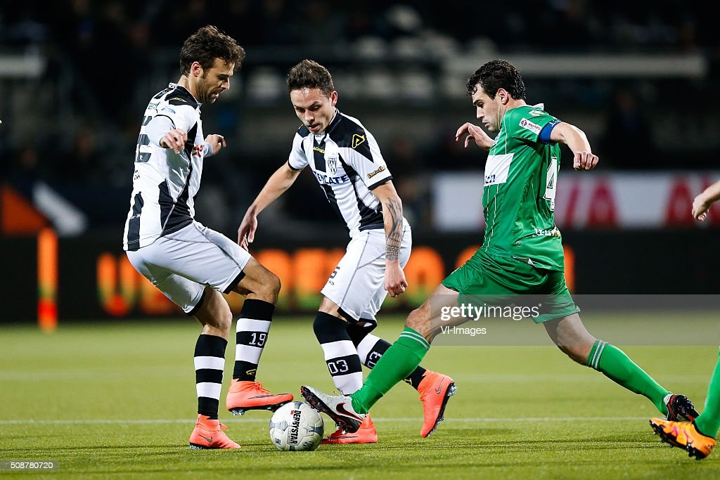 Gonzalo Garcia of Heracles Almelo, Jaroslav Navratil of Heracles Almelo, Dirk Marcellis of PEC Zwolle during the Dutch Eredivisie match between Heracles Almelo and PEC Zwolle at Polman stadium on February 06, 2016 in Almelo, The Netherlands