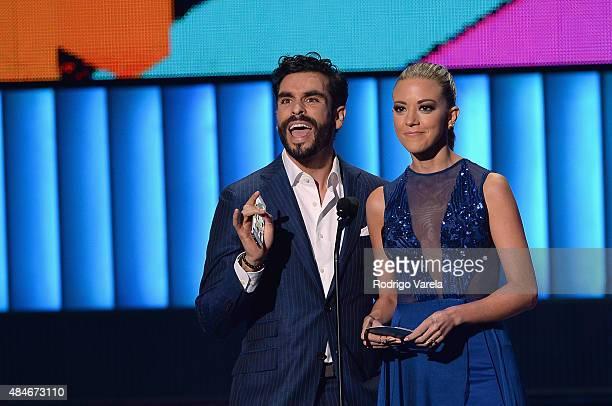 Gonzalo Garcia Vivanco and Fernanda Castillo speak onstage at Telemundo's 'Premios Tu Mundo' Awards 2015 at American Airlines Arena on August 20 2015...