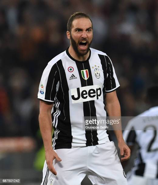 Gonzalo Gerardo Higuaín of Juventus FC during the Serie A match between AS Roma and Juventus FC at Stadio Olimpico on May 14 2017 in Rome Italy