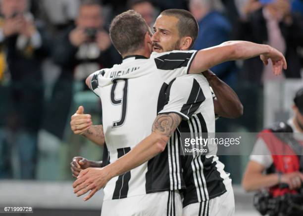 Gonzalo Higuain and Leonardo Bonucci during Serie A match between Juventus v Genoa in Turin on april 23 2017