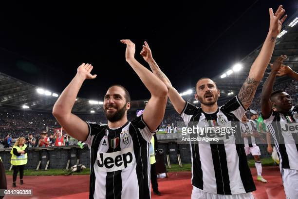 Gonzalo Higuain and Leonardo Bonucci of Juventus FC celebrate the victory after the TIM Cup final football match against SS Lazio at Stadio Olimpico...
