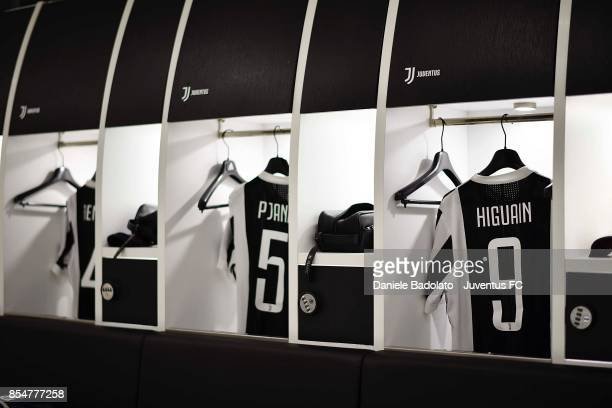 Gonzalo Higuain and Miralem Pjanic jersey in the Juventus dressing room before during the UEFA Champions League group D match between Juventus and...