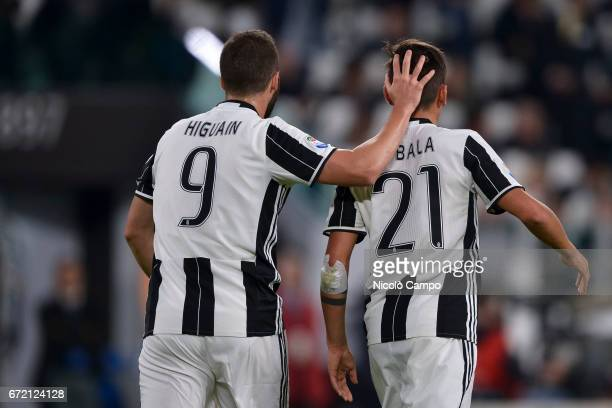 Gonzalo Higuain and Paulo Dybala of Juventus FC celebrate after a goal of Juventus FC during the Serie A football match between Juventus FC and Genoa...