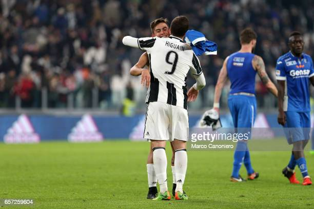 Gonzalo Higuain and Paulo Dybala of Juventus FC celebrate victory at the end of the Serie A match between Juventus FC and Empoli FC at Juventus...