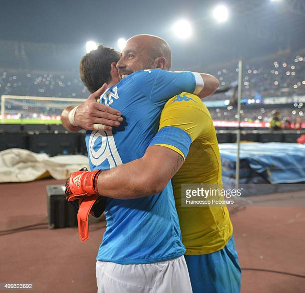 Gonzalo Higuain and Pepe Reina of SSC Napoli celebrate the victory after the Serie A match between SSC Napoli and FC Internazionale Milano at Stadio...