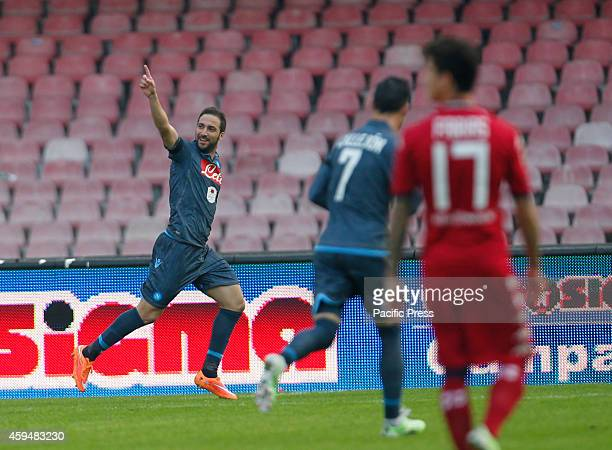 Gonzalo Higuain celebrates after scoring during the Italian Serie A soccer match between SSC Napoli and Cagliari at San Paolo stadium in Naples