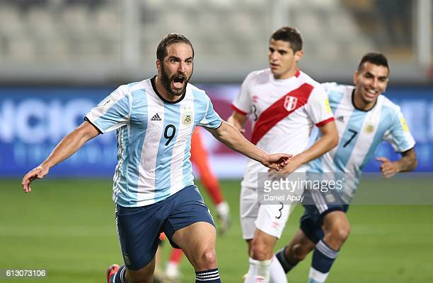 Gonzalo Higuain of Argentina celebrates after scoring his team'a second goal during a match between Peru and Argentina as part of FIFA 2018 World Cup...