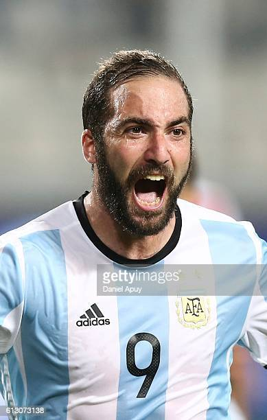 Gonzalo Higuain of Argentina celebrates after scoring his team's second goal during a match between Peru and Argentina as part of FIFA 2018 World Cup...