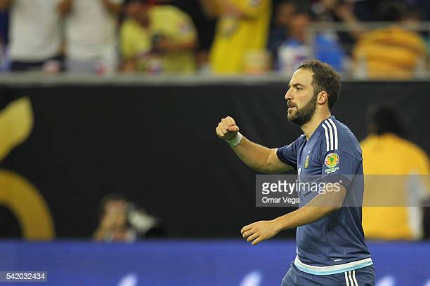 Gonzalo Higuain of Argentina celebrates after scoring the third goal of his team during the Semifinal match between United States and Argentina at...
